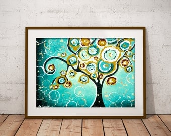 Tree PRINT Turquoise Wall Art Whimsical Tree of Life Curly Tree Woodland Living Room Decor Signed Print