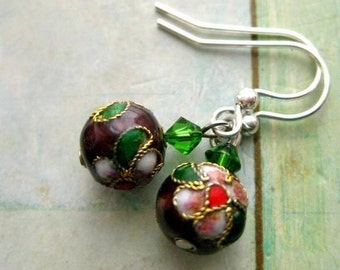 Red earrings. Floral, ceramic earrings with green Swarovski crystals