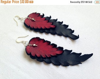 40% OFF SALE Dangle leather feathers earrings Long black and red Leather jewelry