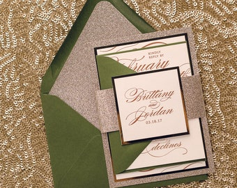 Digital - Fancy Green and Gold Glitter Wedding Invitations - SAMPLE (THERESA)