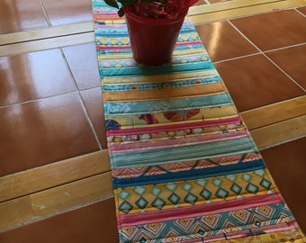 Sunnyside by Sara Franklin / Long Table Runner / String pieced 9 inch x 38 inch / table topper / bright / yellow, blue, pink, green / beachy