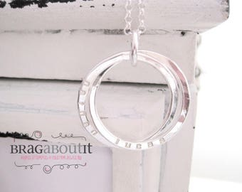 Intertwined Rings . Personalized Jewelry . Hammered . Hand Stamped Personalized Necklace . Intertwined by Brag About It