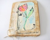 Faith Prayer Journal,Junk Journal, Mini Altered Journal, Recycled Book Pages Art, Writers Journal, Diary, Handcrafted Notebook, Faith Gift