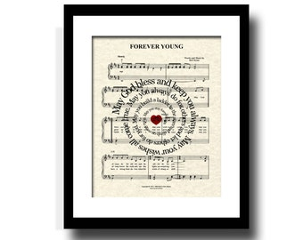 Forever Young by Bob Dylan Spiral Lyric Sheet Music Art Print, Inspirational Art, Custom Art, Name and Date