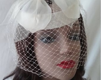 Vintage Off White Pillbox Whimsy Hat with Silk Leaf Accent  A118