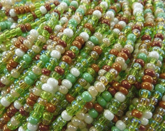 8/0 Green Valley Meadow Mix Czech Glass Seed Bead Strand (CW64) SE