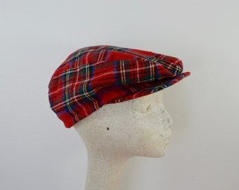 last chance Vintage RED PLAID Wool Cap old man hat cab newsboy size SMALL