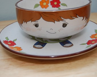Vintage Boy Bowl and Saucer Set
