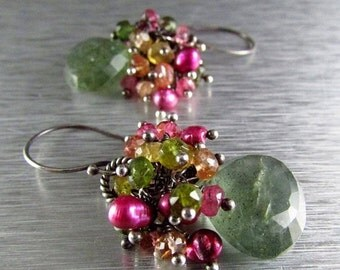25OFF Moss Aquamarine and Watermelon Tourmaline and Pink Pearl Sterling Silver Earrings