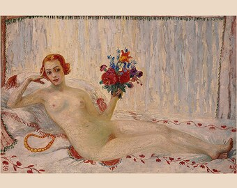 Florine Stettheimer ~ A Model (Nude Self-Portrait) 1915  ~ Feminist, New York Modern, Boudoir art, Bedroom Art