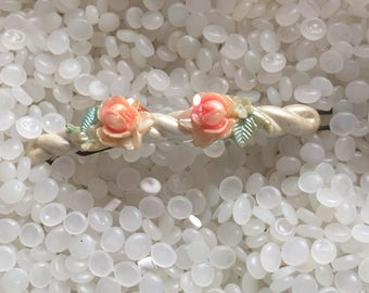 vintage  hair barrette peachy pink with carved roses, a creamy soft pink twist vintage barrette,