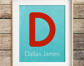 Personalized nursery wall art baby boy nursery decor personalized baby kids wall art nursery monogram aqua red nursery decor modern nursery