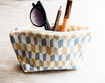 Boho Pouch, Cosmetic Bag, Pencil Pouch, Zipper Pouch, Fabric Pouch, Pouch, Gift for Her, Gift Under 20, Boho Motifs in Beige, Gold and Blue