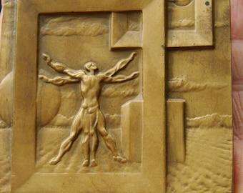 Vitruvian Man Poland Bronze Sculpture medal  1970.s  Vintage Bronze Medal   master bronze  Polish medal Art Show