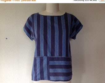SALE Mia cotton top with pockets- Blue stripe- L