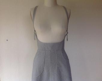 Reserved for Shannon- Railroad striped denim suspender skirt Sz 6