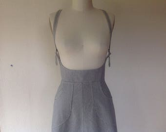 Railroad striped denim suspender skirt Sz 6