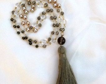 HOLIDAY SALE 30% Beaded Tassel Necklace 14kt Gold Fill Wire Wrap Gemstone Pearl Mystic Beaded Long Necklace Tassel Jewelry Metallic Bohemian