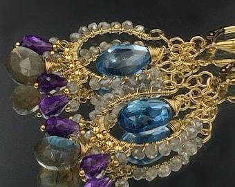 PRESIDENTS DAY SALE London Blue Topaz Chandelier Earrings, Wire Wrap Gold Fill Handmade Amethyst, Labradorite Leverback, Gift for Her, Fall