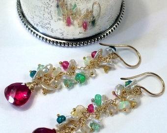 SPRING SALE Red Earrings Colorful Opal Earring Gold Fill Chain Dangle Boho Earring Pastel Keishi Pearl Cluster Multicolor Opal Sapphire Earr