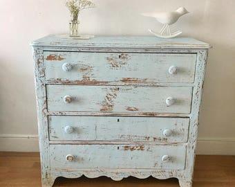 Vintage bedroom dresser  painted and distressed