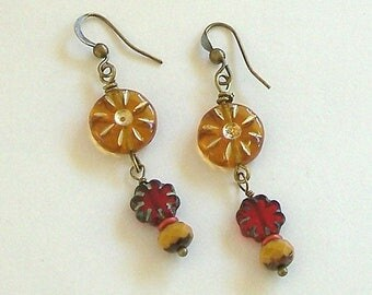 Gold and Red Czech Bead Boho Style Dangle Earrings by Carol Wilson of Je t'adorn