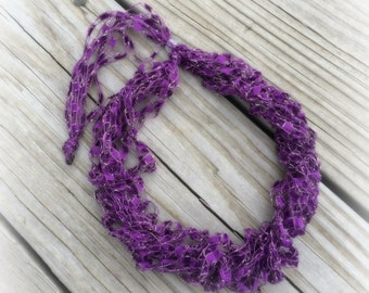 Ladder Yarn Necklace, Purple Crocheted Ribbon Necklace, Fiber Jewelry/Lilac Ladder Necklace (Ready to Ship)