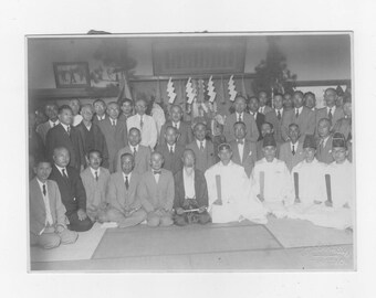 Vintage photo  black and white photo of a group of Japanese  men
