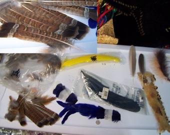 Feathers Clearance sale assorted lot -  estate sale fluff  pheasant goose natural - dyed yellow blue - destash barrette hat  grab bag #D8m
