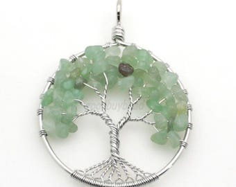 Green Aventurine Tree of Life pendant - crystal stone chip pebble beads circle - made to order necklace with cord chain silver round J4U49