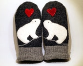 Sweater Mittens Recycled Polar Bear Felted Wool in Dark Grey Red  and White with Applique and Leather Palm Eco Friendly Upcycled  Size S/M