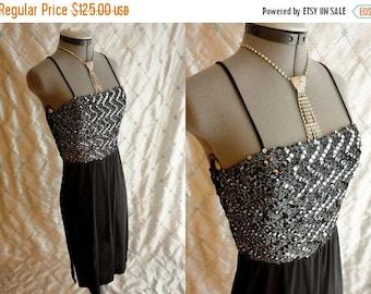 VINTAGE SALE 70s Dress // Vintage 1970s Black and Silver Dress with Black and Silver Sequins and Cool Crisscross Back from Joseph Magnin Siz