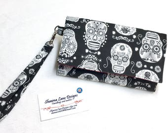 women's wallet, wristlet with strap, Black and white sugar skulls, cell phone accessory, women's gift, small purse, credit card keeper