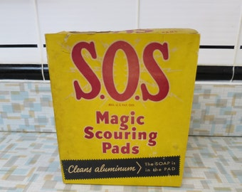 Vintage box of S.O.S. Magic Scouring Pads -1930s-40s Advertising - Kitchen Decor