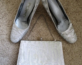 1960s Silver Pumps + Purse - Size 5.5B - Party, Wedding, Prom