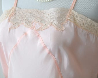 Vintage Lingerie Slip 1950s Light Pink Coral Myra Joy 50s Rayon Full Slip Nightgown French Ivory Lace Trim Gift for Her Lingerie Lover Large