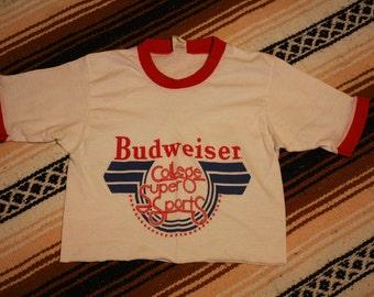 Vintage Budweiser college super sports crop top ringer shirt xs