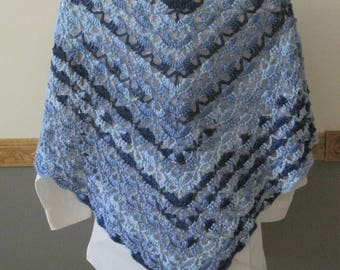 Crocheted Lacy Shawl - Blue Jeans