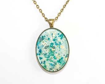 Splatter Painting Pendant - Abstract Art Brass Oval Necklace - Caribbean Waters Colorway: Aqua, Green, Teal, Gold