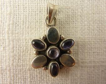 Vintage Sterling and Amethyst Flower Pendant