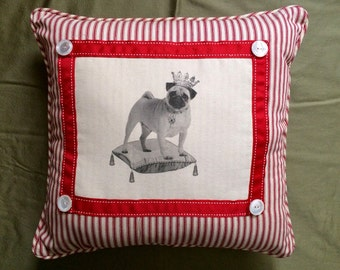 Pug Pillow,Decorative throw Pillow, Dog Art, French Country Decor, Farmhouse Decor, Red ticking front, Waverly Check backing