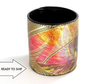 Leather Cuff Wallet also with Contactless Payment Chip - Gold Eye