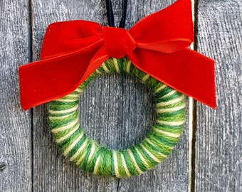 Rescued Mini Wool Wreath Ornament - Mixed Greens with Red Bow