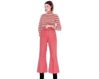 HURRY HALF OFF super super rare Coral bellbottoms / small medium / vintage 70s bell bottoms 1970s high waisted jeans wranglers wrangler jean