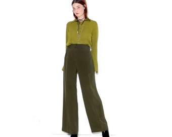 vintage SILK trousers / womens xl / dark olive green high waisted pants wide leg pants straight leg palazzo pants minimalist runway