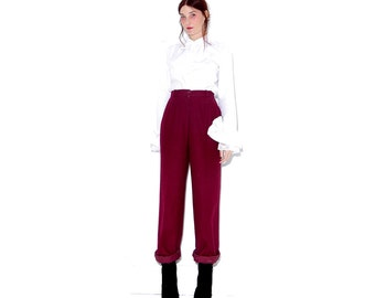 beautiful BERRY wool trousers / small medium / lux high quality wool pants high waisted pants high waisted trousers minimalist dress pants