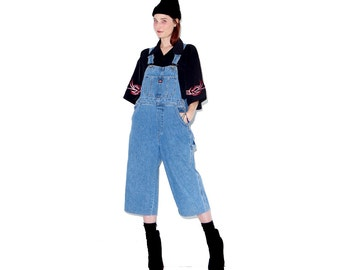 Vintage 90s UNIONBAY OVERALLS denim overalls xs small medium / mom jeans mid ankle cropped pants 90s clothing womens overalls cropped jeans