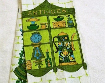Vintage tea towel, Coffee Time, Greens and Browns, Kitchen Towels. Vintage Kitchen