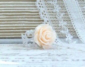 Peach Rose Ring Light Peach Ring Peach Flower Ring Peach Floral Ring Peach And White Ring
