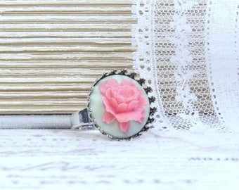 Pink Rose Ring Pink And Green Ring Rose Cameo Ring Adjustable Ring Pink Floral Ring